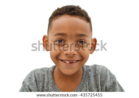 Handsome Smiling Boy Missing Front Tooth Close Up isolated on white background