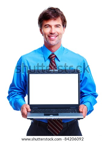 Handsome smiling business man. Isolated over white background.