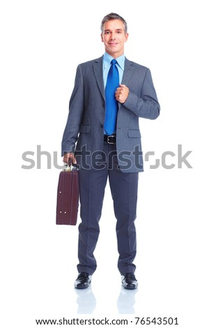 Handsome smiling businessman. Isolated over white background