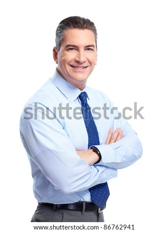 Handsome smiling businessman. Isolated over white background - stock photo