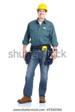 Handsome smiling contractor. Isolated over white background - stock photo