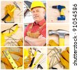 Handsome smiling industrial worker contractor. Construction. - stock photo