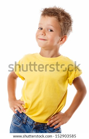 Handsome smiling little boy, isolated on white - stock photo
