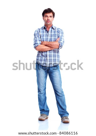 Handsome smiling man. Isolated over white background.