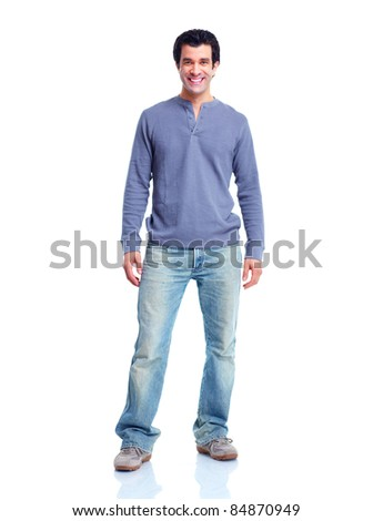 Handsome smiling man. Isolated over white background