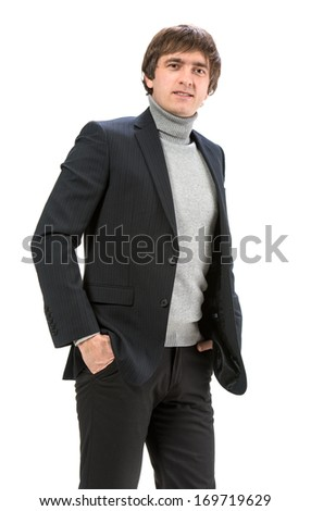 Handsome smiling man on a white background