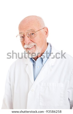 Handsome smiling senior man in a labcoat.   Isolated on white.