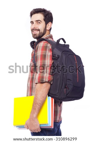 Handsome smiling student isolated on white background