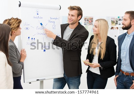 Handsome smiling young male team leader giving a presentation to his business colleagues standing in front of a flipchart with a diagram - stock photo