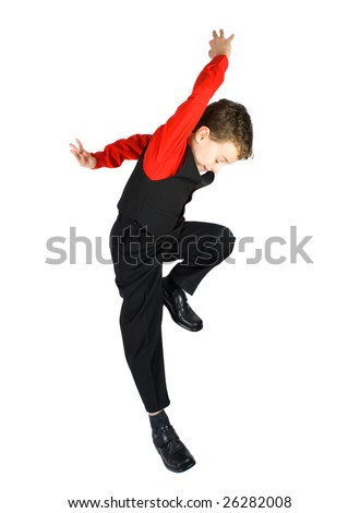 Handsome stylish little boy dancing, isolated on white background