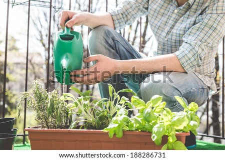 handsome stylish man gardening and watering at home - stock photo