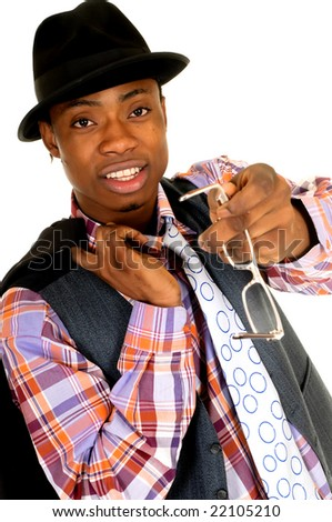 Handsome successful African American black businessman, studio shot, white background - stock photo