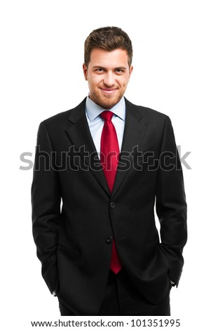 Handsome successful businessman isolated on white - stock photo