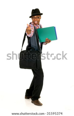 Handsome successful joyful African American black businessman, studio shot, white background - stock photo