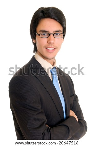 Handsome successful young businessman, joyful expression, studio shot. - stock photo
