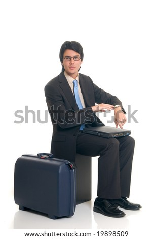Handsome successful young sales representative, joyful expression, studio shot. - stock photo