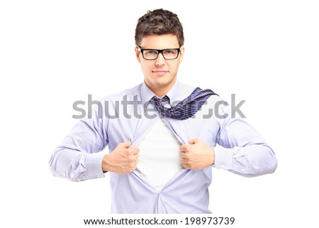 Handsome superhero tearing his shirt isolated on white background - stock photo