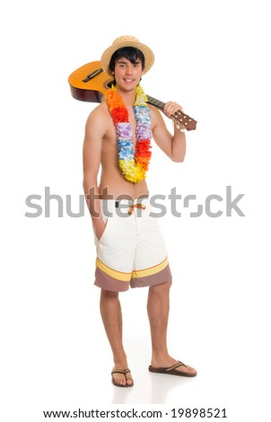 Handsome teenager boy on vacation, holding guitar. Studio shot, white background.