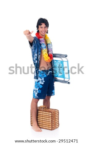 Handsome teenager boy on vacation, spring break. Studio shot, white background.