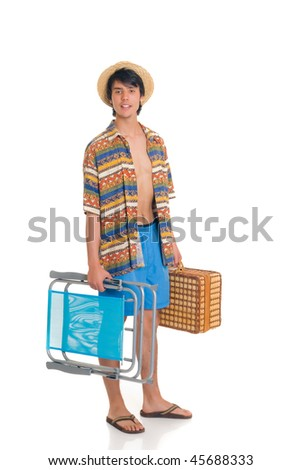 Handsome teenager boy on vacation, spring break,  Studio shot, white background. - stock photo