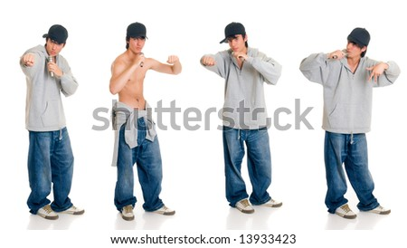 Handsome teenager boy singer with cap, hip hop culture.  Studio shot, white background - stock photo