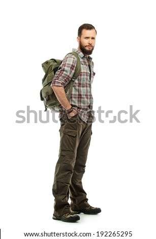 Handsome traveler with backpack isolated on white  - stock photo
