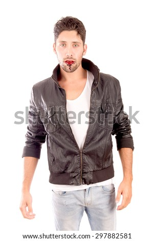 handsome vampire isolated in white background - stock photo
