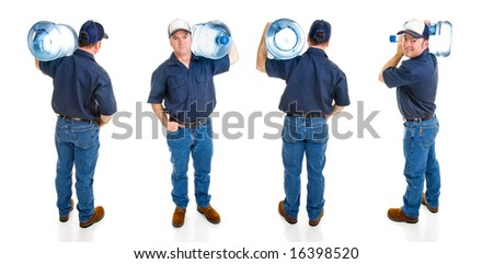 Handsome water delivery man carrying five gallon jug of water over his shoulder.  Four full body views isolated on white. - stock photo