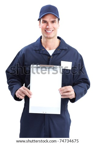 Handsome worker with a tablet. Professional service. - stock photo