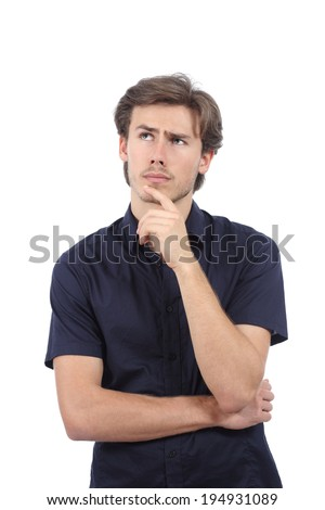 Handsome worried man thinking and looking at side isolated on a white background