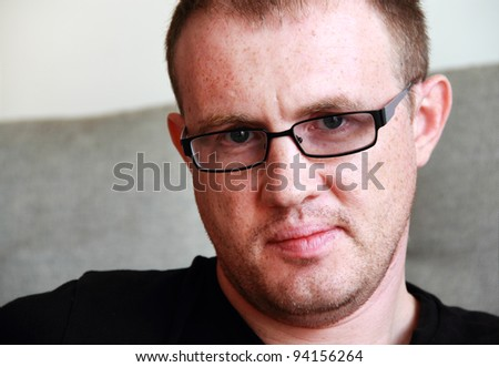 handsome 35 years old man with glasses - stock photo