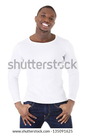 Handsome younf african american man in casual clothes. - stock photo