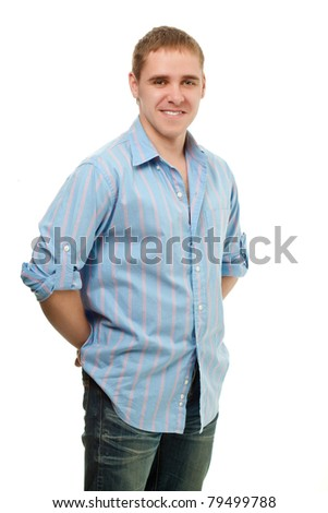 handsome young adult man portrait over white