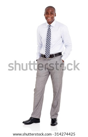 handsome young african american man isolated on white background