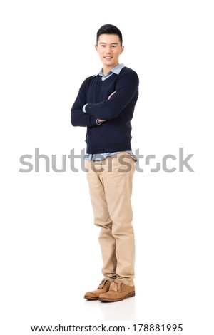 Handsome young Asian man, full length portrait isolated on white background. - stock photo