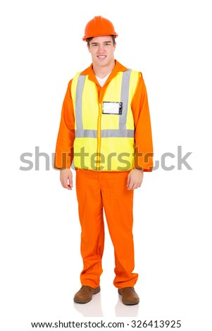handsome young blue collar worker standing on white background - stock photo