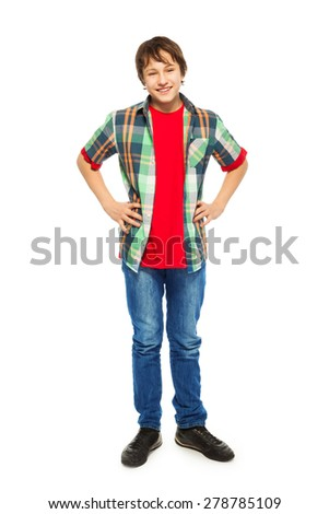 Handsome young boy stand isolated on white - stock photo