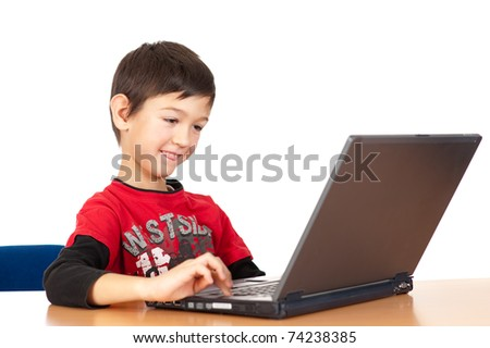 Handsome young boy with laptop