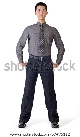 Handsome young business man, full length portrait of Asian isolated on white background. - stock photo