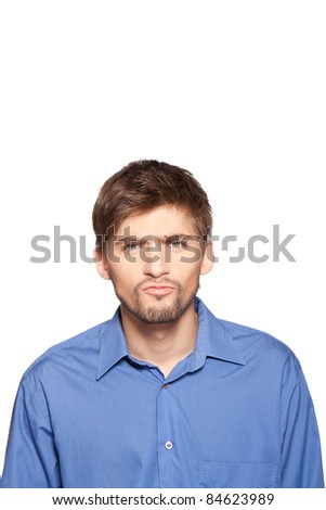 Handsome young business man happy smile, isolated over white background. series of portrait photos. - stock photo