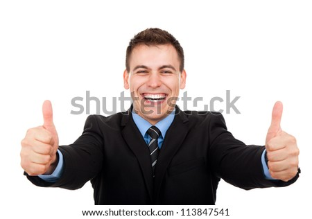 Handsome young business man hold hand with thumb up gesture, businessman excited happy smile, wear elegant shirt and tie isolated over white background - stock photo