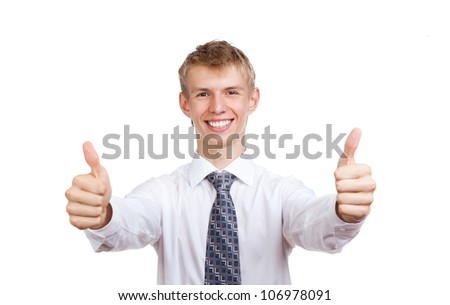 Handsome young business man hold hand with thumb up gesture, businessman happy smile, wear elegant shirt and tie isolated over white background - stock photo