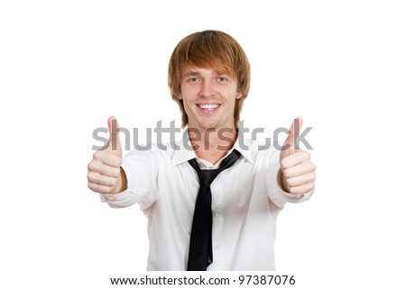 Handsome young business man hold two hands with thumb up gesture, businessman happy smile, wear shirt and tie isolated over white background - stock photo