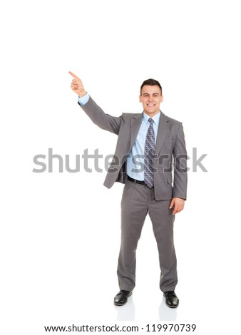Handsome young business man point finger to empty copy space, businessman showing pointing side happy smile, concept of advertisement product, full length portrait isolated over white background - stock photo