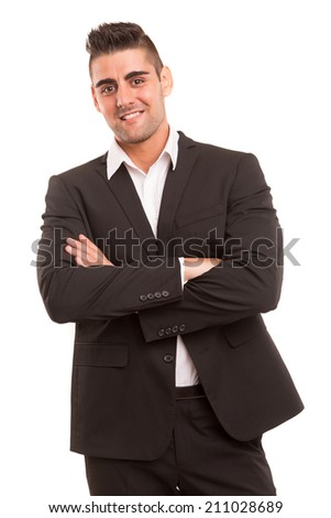 Handsome young business man posing isolated over white background - stock photo