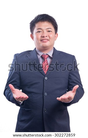 Handsome young business man smiling,Portrait asian businessman people isolated with white background - stock photo