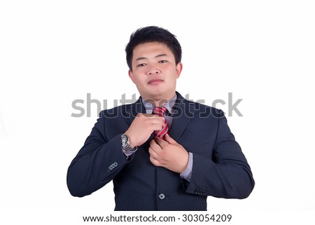 Handsome young business man smiling,Portrait asian businessman people isolated with white background