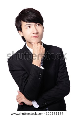 Handsome young business man think looking up to empty copy space isolated over white background, asian male model - stock photo