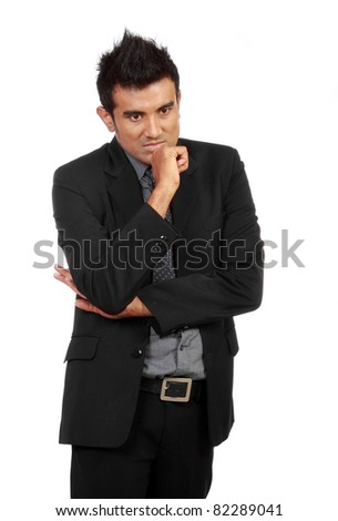 handsome young business man thinking isolated on white - stock photo