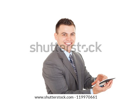 Handsome young business man using tablet computer happy smile, businessman with digital pad point finger to touch screen isolated over white background - stock photo